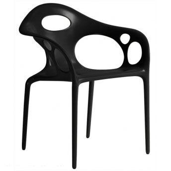 MOROSO ensemble de 4 fauteuils SUPERNATURAL (Noir - Polypropylène)