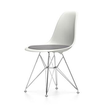 VITRA chaise avec coussin Eames Plastic Side Chair DSR NOUVELLES DIMENSIONS (Blanc, coussin bleu glace/marron marécage - Polypropylene blanc, [...]