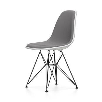 VITRA chaise avec rembourrage total et piètement noir Eames Plastic Side Chair DSR NOUVELLES DIMENSIONS (Blanc, coussin bleu glace/marron [...]