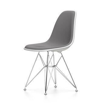 VITRA chaise rembourrage total Eames Plastic Side Chair DSR NOUVELLES DIMENSIONS (Blanc, coussin bleu glace/marron marécage - Polypropylene [...]