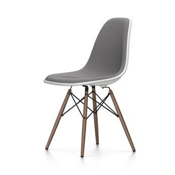 VITRA chaise rembourrage total piètement foncé Eames Plastic Side Chair DSW NOUVELLES DIMENSIONS (Blanc, coussin bleu glace/marron marécage - [...]