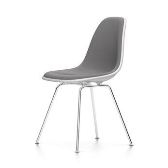 VITRA chaise rembourrage total Eames Plastic Side Chair DSX NOUVELLES DIMENSIONS (Blanc, coussin bleu glace/marron marécage - Polypropylene [...]