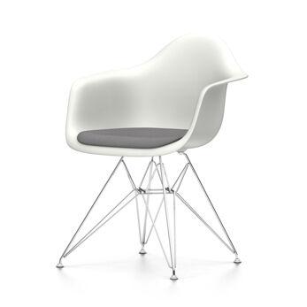 VITRA chaise fauteuil avec coussin Eames Plastic Armchair DAR NOUVELLES DIMENSIONS (Blanc, coussin bleu glace/marron marécage - Polypropylene [...]
