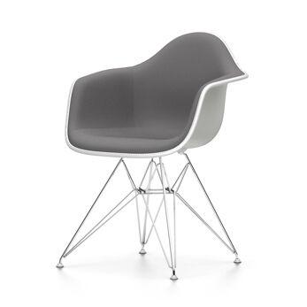 VITRA chaise fauteuil avec rembourrage total Eames Plastic Armchair DAR NOUVELLES DIMENSIONS (Blanc, coussin bleu glace/marron marécage - [...]