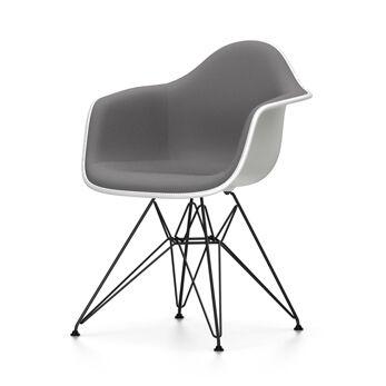VITRA chaise fauteuil avec rembourrage total et piètement noir Eames Plastic Armchair DAR NOUVELLES DIMENSIONS (Blanc, coussin bleu glace/marron [...]