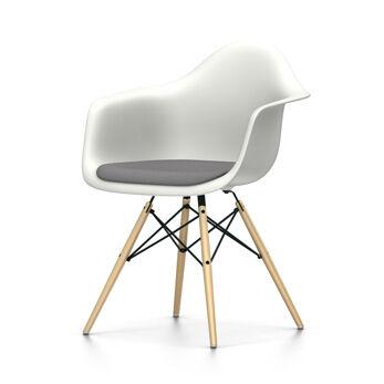 VITRA chaise fauteuil avec coussin Eames Plastic Armchair DAW NOUVELLES DIMENSIONS (Blanc, coussin bleu glace/marron marécage - Polypropylene [...]