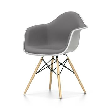 VITRA chaise fauteuil avec rembourrage total Eames Plastic Armchair DAW NOUVELLES DIMENSIONS (Blanc, coussin bleu glace/marron marécage - [...]
