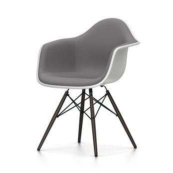 VITRA chaise fauteuil rembourrage total piètement noir Eames Plastic Armchair DAW NOUVELLES DIMENSIONS (Blanc, coussin bleu glace/marron [...]