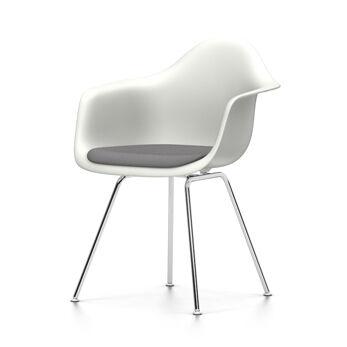 VITRA chaise fauteuil avec coussin Eames Plastic Armchair DAX NOUVELLES DIMENSIONS (Blanc, coussin bleu glace/marron marécage - Polypropylene [...]