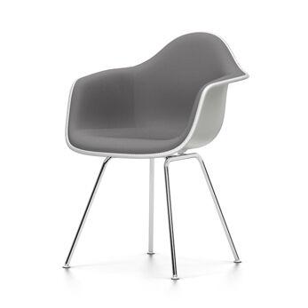 VITRA chaise fauteuil avec rembourrage total Eames Plastic Armchair DAX NOUVELLES DIMENSIONS (Blanc, coussin bleu glace/marron marécage - [...]