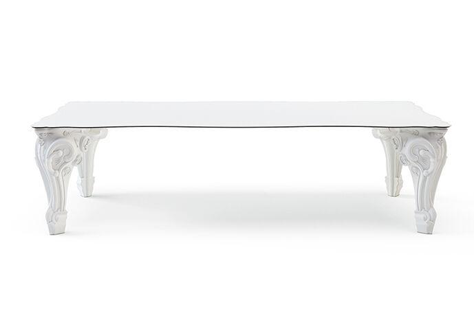 SLIDE table SIR OF LOVE (L 200 cm Blanc lait - Polyéthylène et HPL)