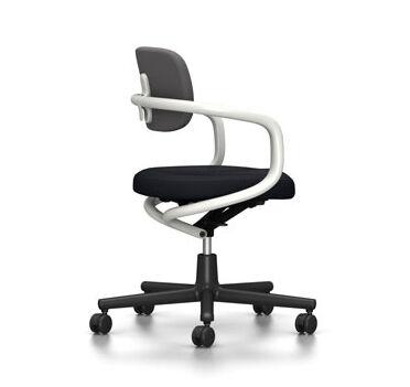 VITRA chaise de bureau ALLSTAR avec accoudoirs blancs (Bleu glace/marron marais - Polyamide, tissu Hopsak)