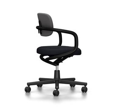 VITRA chaise de bureau ALLSTAR avec accoudoirs noirs (Bleu glace/marron marais - Polyamide, tissu Hopsak)