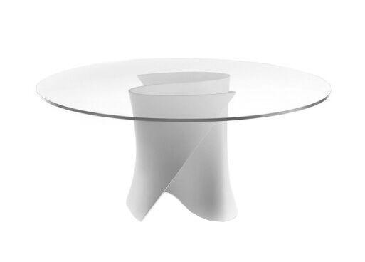 MDF ITALIA table ronde S TABLE Ø 126 cm (Blanc Opaque - structure en Cristalpant ® / pleateau en cristal extra light)