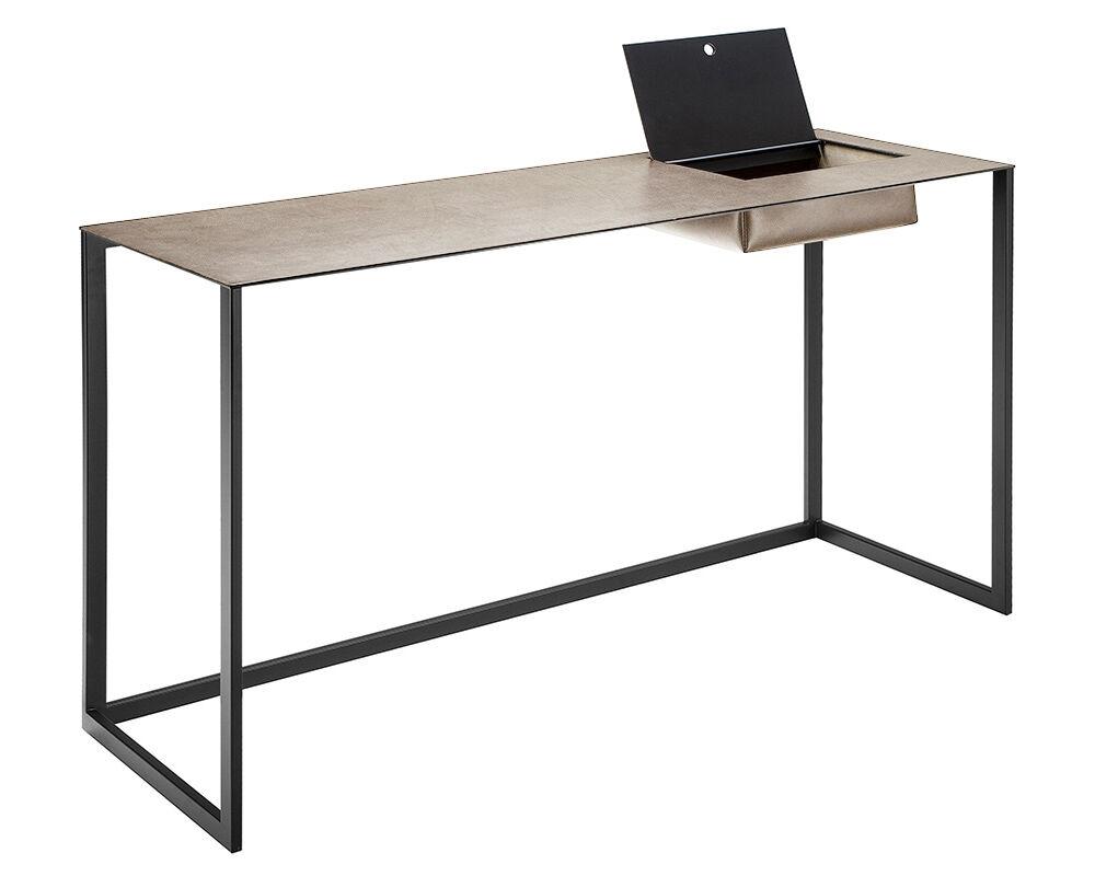 ZANOTTA écritoire bureau CALAMO (Plateau 0811, structure graphite - Plateau en cuir pigmenté Cat. 90, structure en acier verni)