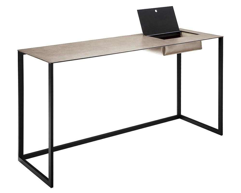 ZANOTTA écritoire bureau CALAMO (Plateau 0811, structure noire - Plateau en cuir pigmenté Cat. 90, structure en acier verni)