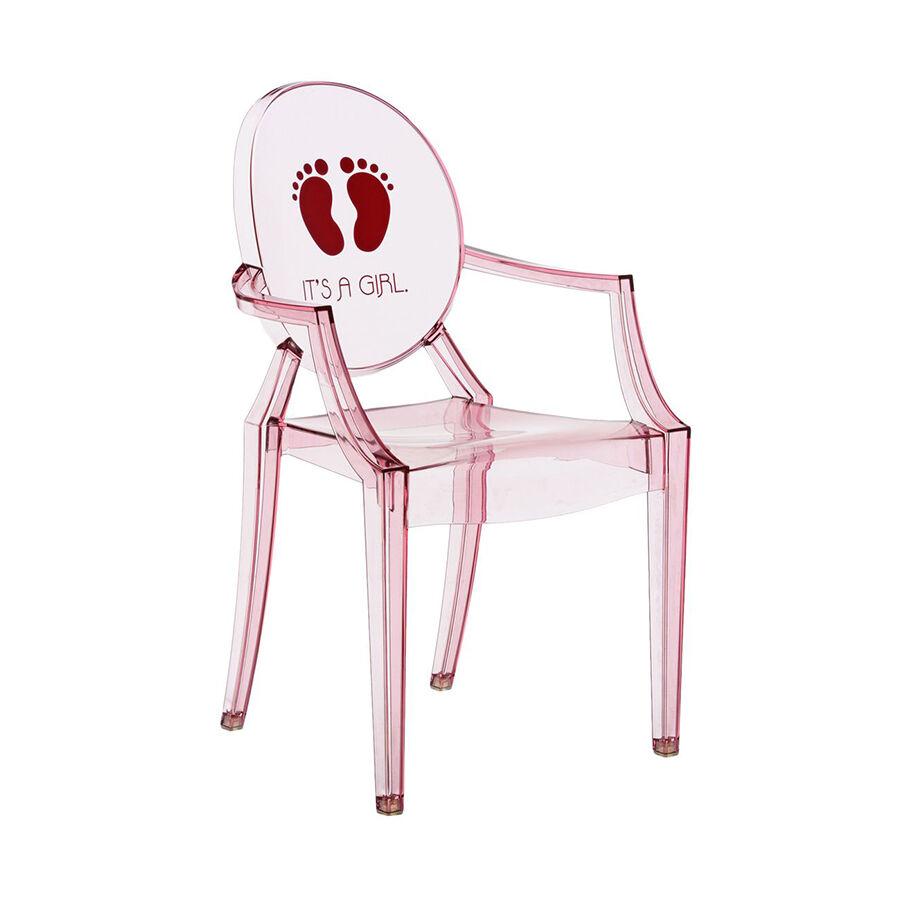 KARTELL KIDS chaise pour enfants LOU LOU GHOST (Rose / It's a girl - Polycarbonate coloré dans la masse)
