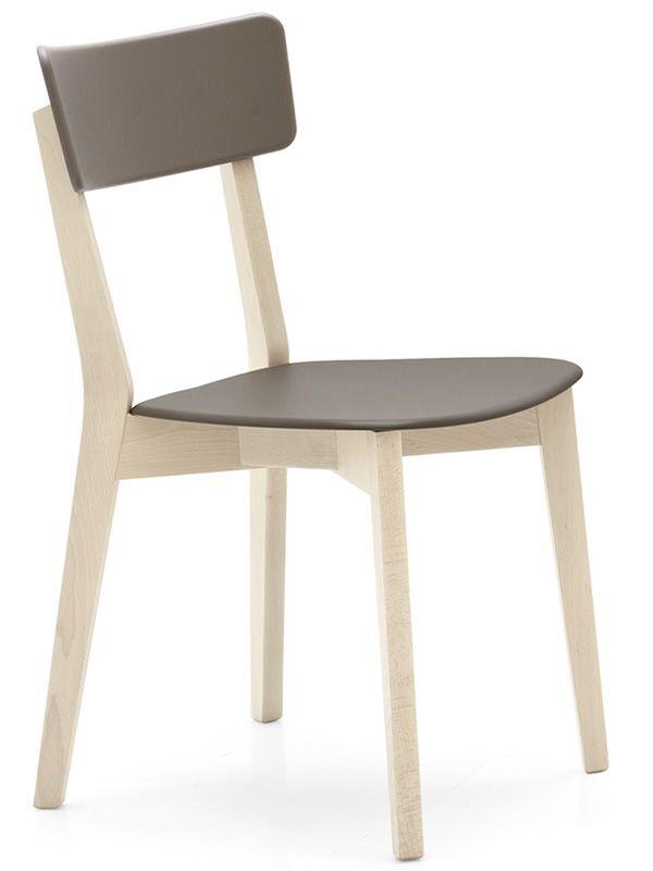 CONNUBIA set de 2 chaises JELLY CB/1528 (structure hêtre blanchi, assise tourterelle opaque - Bois de hêtre et polypropylène)