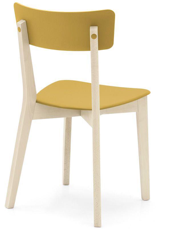 CONNUBIA set de 2 chaises JELLY CB/1528 (structure hêtre blanchi, assise moutarde opaque - Bois de hêtre et polypropylène)