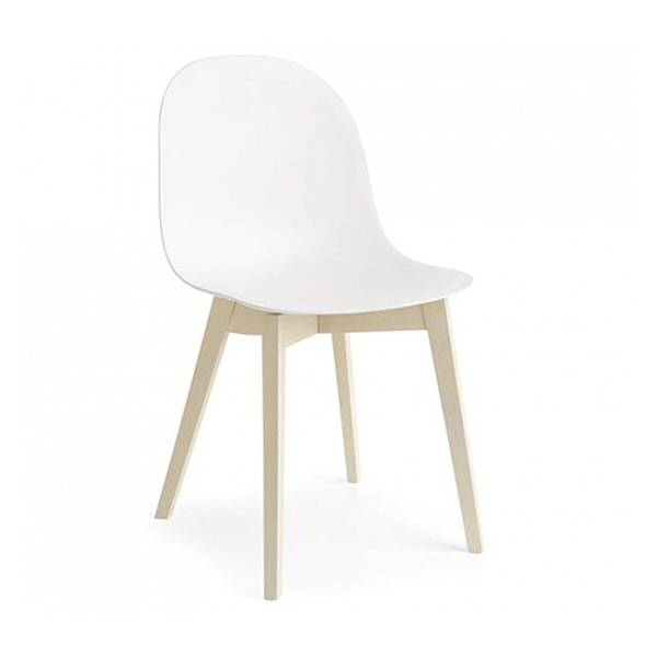 CONNUBIA set de 2 chaises ACADEMY W CB/1665 (structure hêtre blanchi, assise blanc optique opaque - Bois de hêtre et polypropylène)