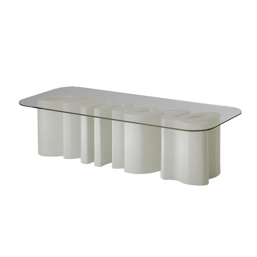 SLIDE table basse AMORE TABLE (Blanc lait - Polyéthylène et verre)