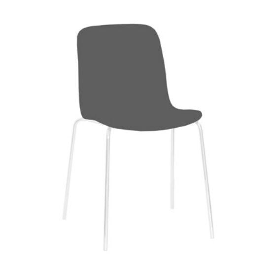 MAGIS set de 4 chaises SUBSTANCE STEEL (Gris beige - Acier verni blanc et polyurétane)