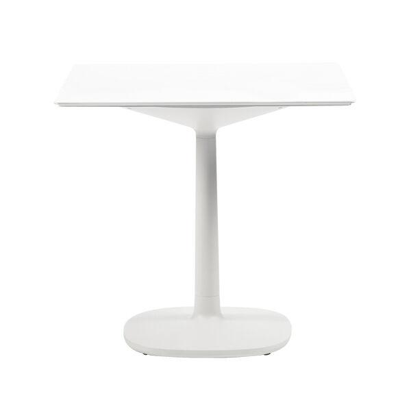 KARTELL table MULTIPLO avec plateau carré 118 cms et grande base carrée (Blanc - Aluminium moulé et plateau en verre)