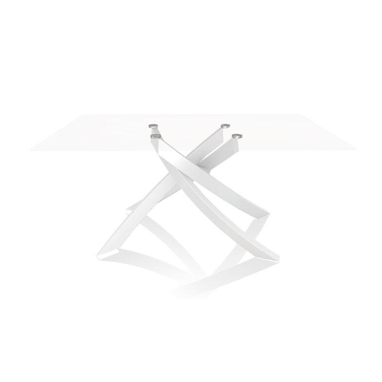 BONTEMPI CASA table avec structure blanche ARTISTICO 20.13 160x90 cm (Transparent extra-clair - Plateau en verre et structure en acier laqué [...]