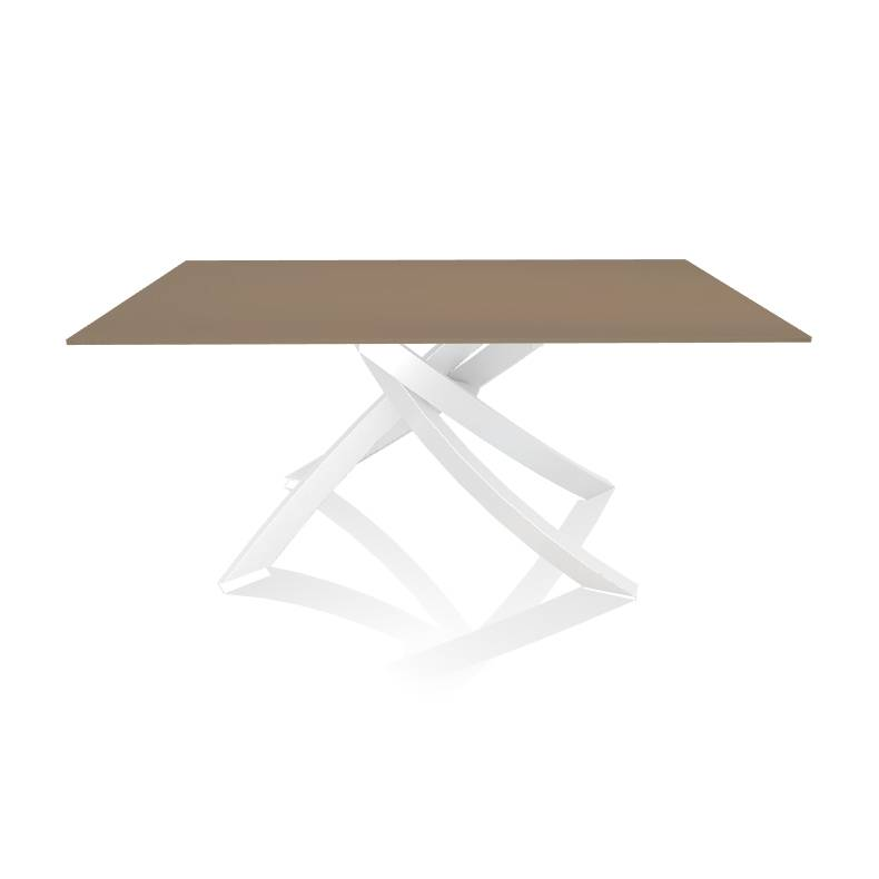 BONTEMPI CASA table avec structure blanche ARTISTICO 20.13 160x90 cm (Tourterelle brillant - Plateau en verre et structure en acier laqué blanc)