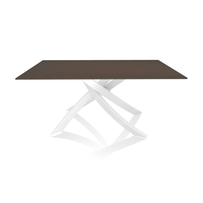 BONTEMPI CASA table avec structure blanche ARTISTICO 20.13 160x90 cm (Anthracite brillant - Plateau en verre et structure en acier laqué blanc)