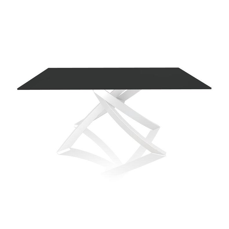 BONTEMPI CASA table avec structure blanche ARTISTICO 20.13 160x90 cm (Anti-rayures anthracite opaque - Plateau en verre et structure en acier [...]