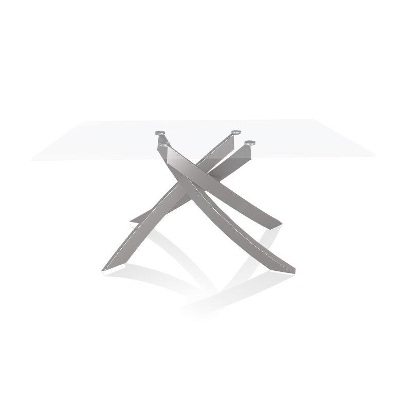 BONTEMPI CASA table avec structure gris clair ARTISTICO 20.13 160x90 cm (Transparent extra-clair - Plateau en verre et structure en acier laqué [...]