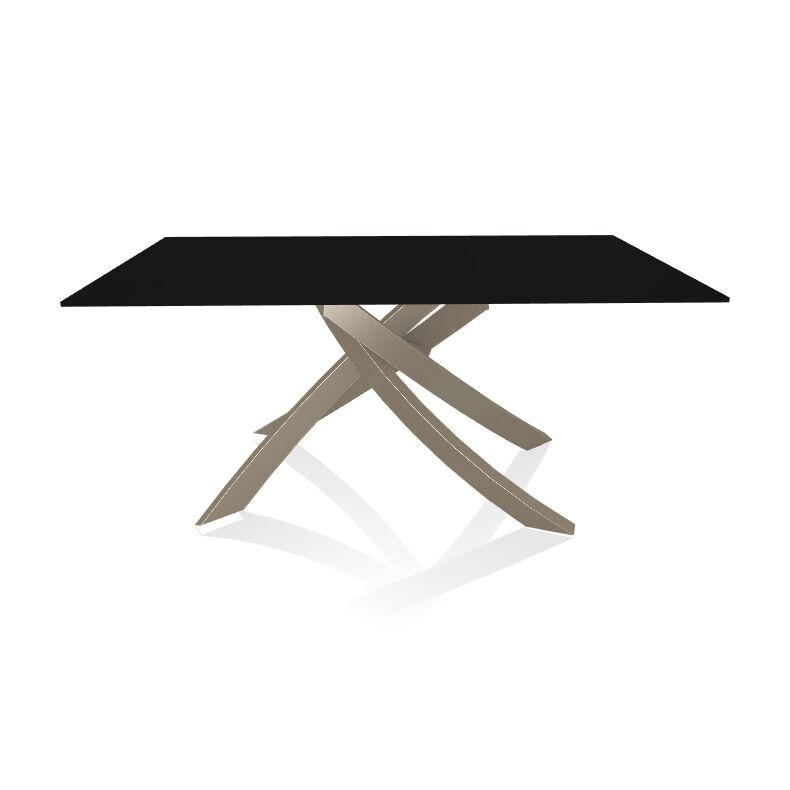 BONTEMPI CASA table avec structure sable ARTISTICO 20.13 160x90 cm (Anti-rayures noir opaque - Plateau en verre et structure en acier laqué [...]