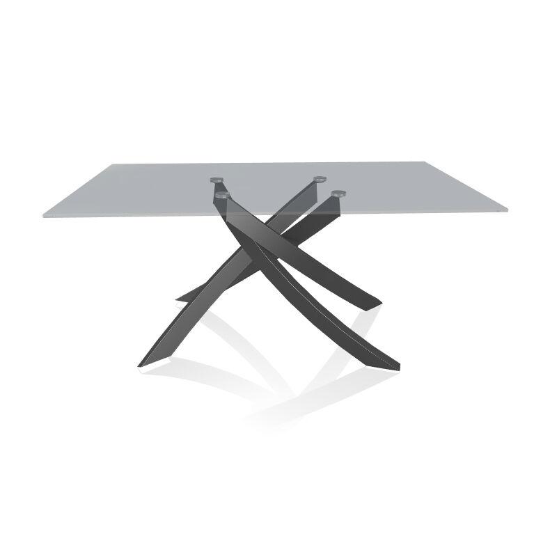 BONTEMPI CASA table avec structure anthracite ARTISTICO 20.13 160x90 cm (Transparent fumé - Plateau en verre et structure en acier laqué [...]