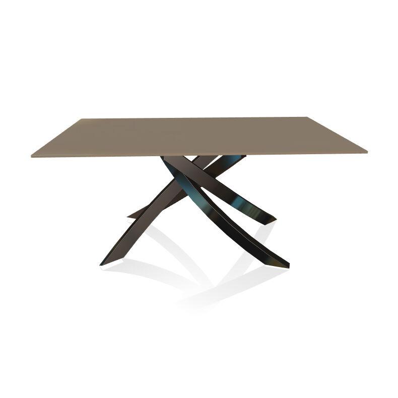 BONTEMPI CASA table avec structure noir poli ARTISTICO 20.13 160x90 cm (Tourterelle brillant - Plateau en verre et structure en acier laqué noir [...]