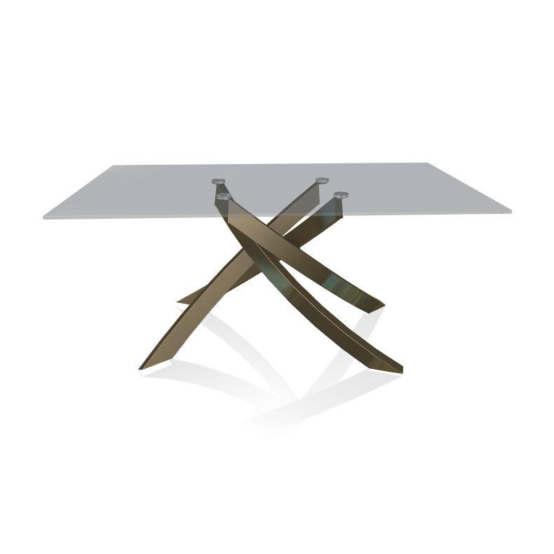 BONTEMPI CASA table avec structure laiton vielli ARTISTICO 20.13 160x90 cm (Transparent fumé - Plateau en verre et structure en acier laqué [...]