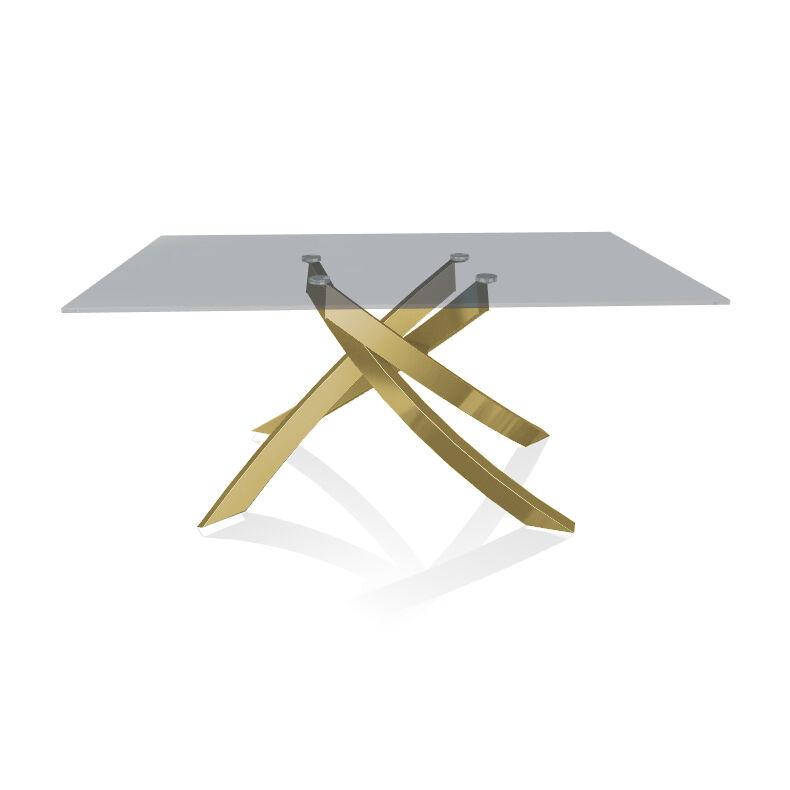BONTEMPI CASA table avec structure or ARTISTICO 20.13 160x90 cm (Transparent fumé - Plateau en verre et structure en acier laqué or)