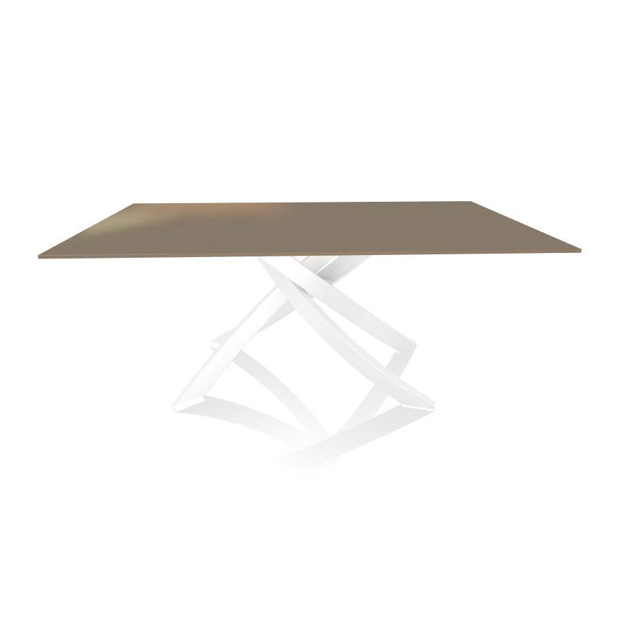 BONTEMPI CASA table avec structure blanche ARTISTICO 20.00 180x106 cm (Tourterelle brillant - Plateau en verre et structure en acier laqué [...]