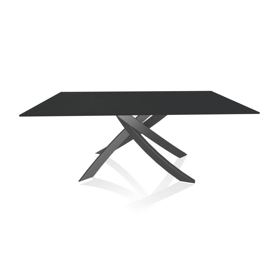 BONTEMPI CASA table avec structure anthracite ARTISTICO 20.00 180x106 cm (Anti-rayures anthracite opaque - Plateau en verre et structure en [...]