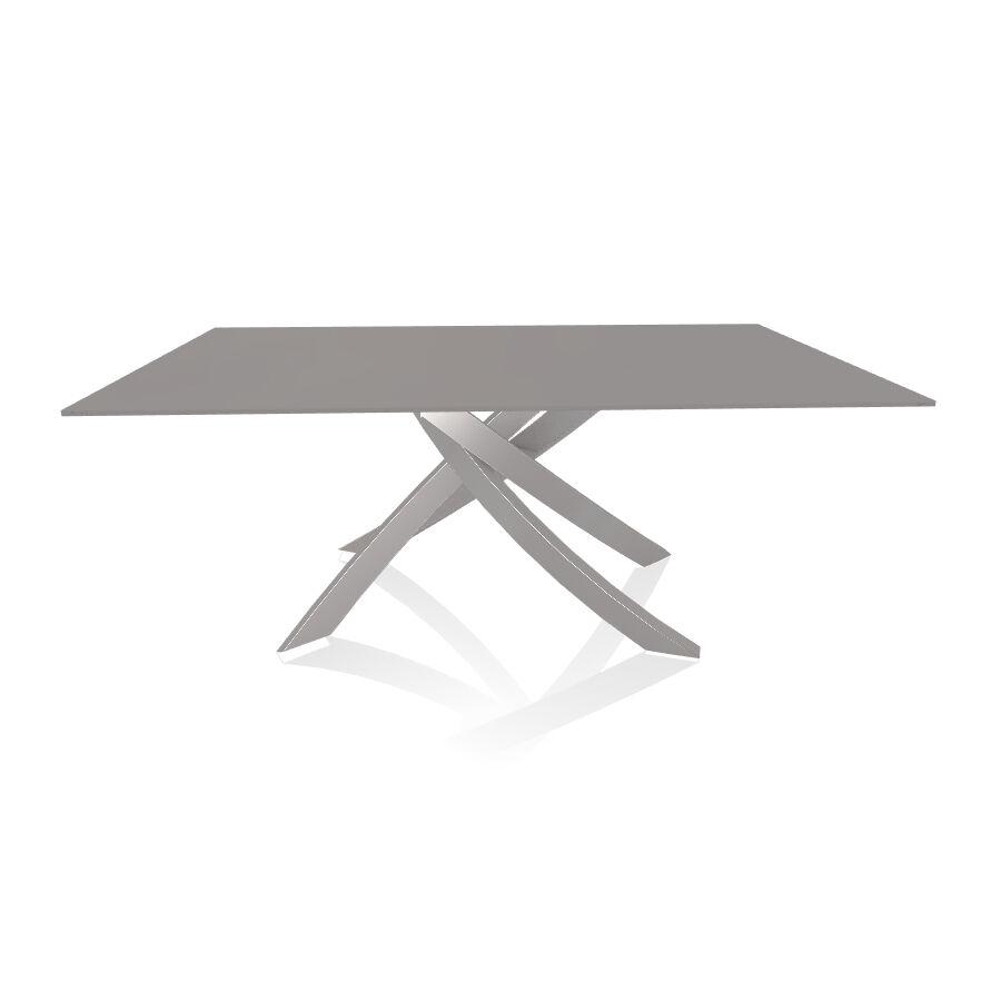 BONTEMPI CASA table avec structure gris clair ARTISTICO 20.00 180x106 cm (Anti-rayures gris clair opaque - Plateau en verre et structure en [...]