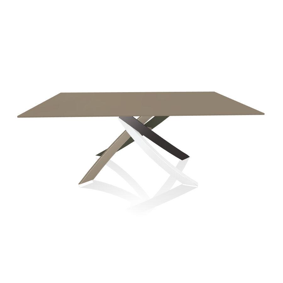 BONTEMPI CASA table avec structure multicolor elegant ARTISTICO 20.00 180x106 cm (Anti-rayures tourterelle opaque - Plateau en verre et [...]
