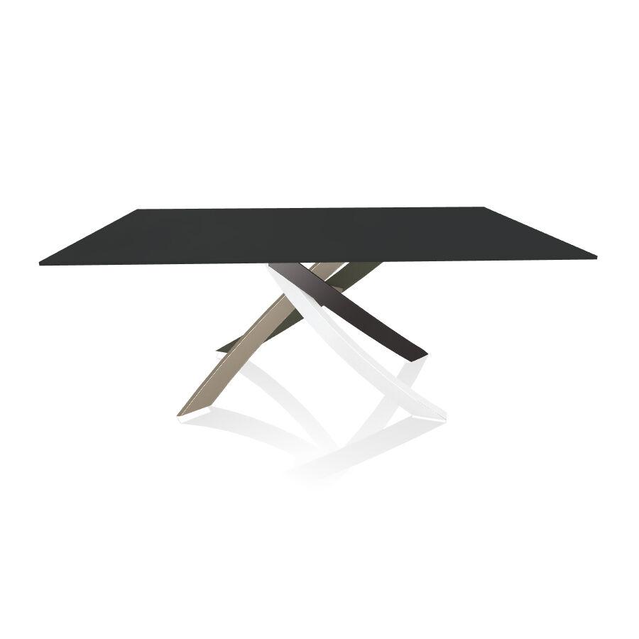BONTEMPI CASA table avec structure multicolor elegant ARTISTICO 20.00 180x106 cm (Anti-rayures anthracite opaque - Plateau en verre et structure [...]