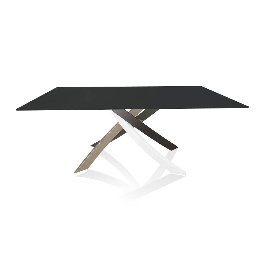 BONTEMPI CASA table avec structure multicolor elegant ARTISTICO 20.00 180x106 cm (Anti-rayures anthracite opaque - Plateau en verre et structure [...]