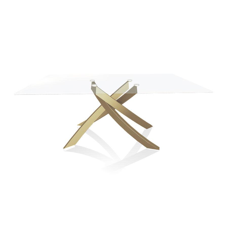 BONTEMPI CASA table avec structure or ARTISTICO 20.00 180x106 cm (Transparent extra-clair - Plateau en verre et structure en acier laqué or)