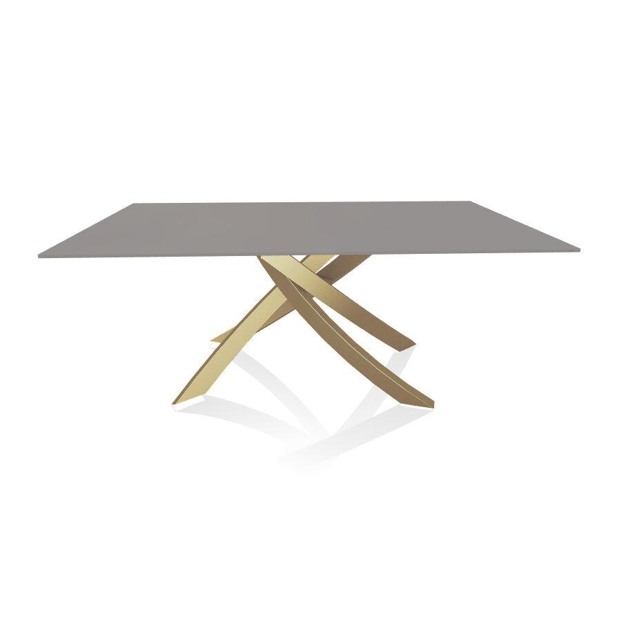 BONTEMPI CASA table avec structure or ARTISTICO 20.00 180x106 cm (Anti-rayures gris clair opaque - Plateau en verre et structure en acier laqué [...]