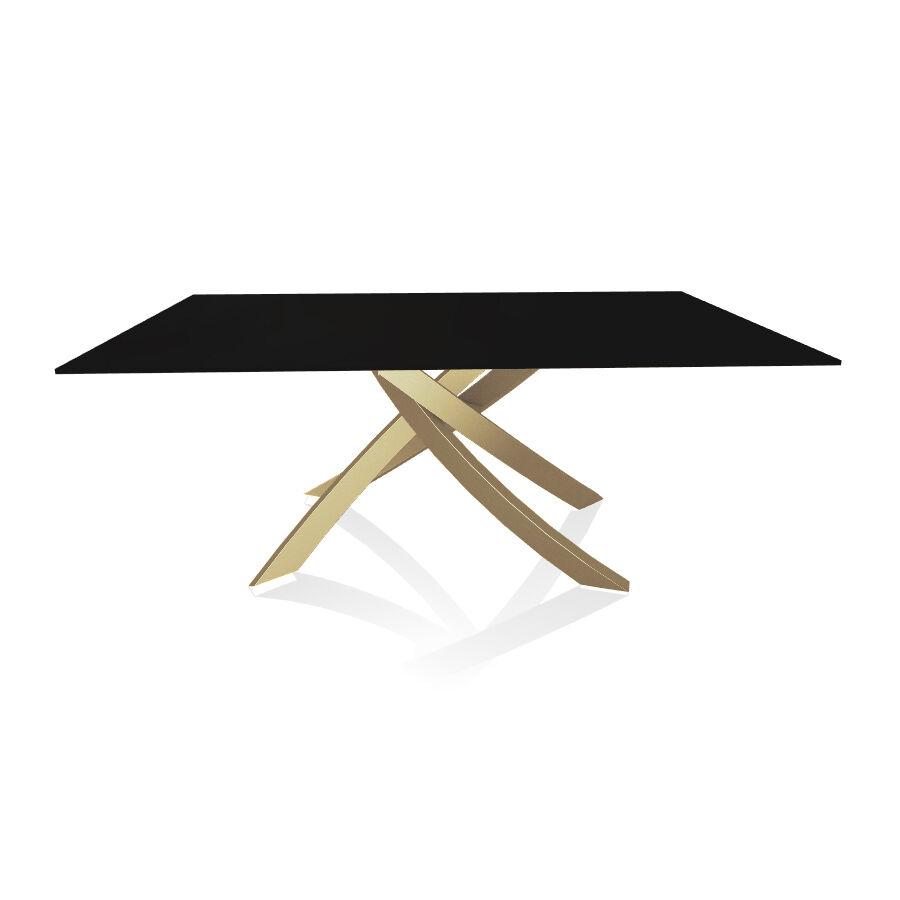 BONTEMPI CASA table avec structure or ARTISTICO 20.00 180x106 cm (Anti-rayures noir opaque - Plateau en verre et structure en acier laqué or)