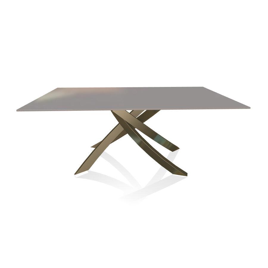 BONTEMPI CASA table avec structure laiton vielli ARTISTICO 20.00 180x106 cm (Laqué gris clair brillant - Plateau en verre et structure en acier [...]