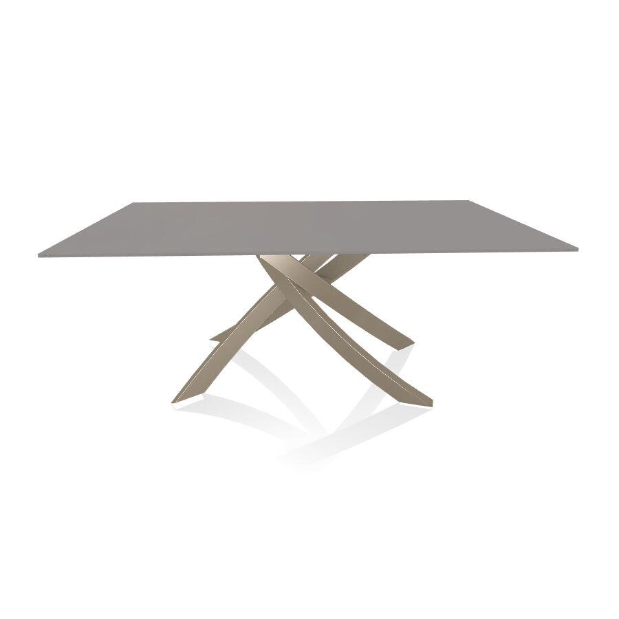 BONTEMPI CASA table avec structure sable ARTISTICO 20.00 180x106 cm (Anti-rayures gris clair opaque - Plateau en verre et structure en acier [...]
