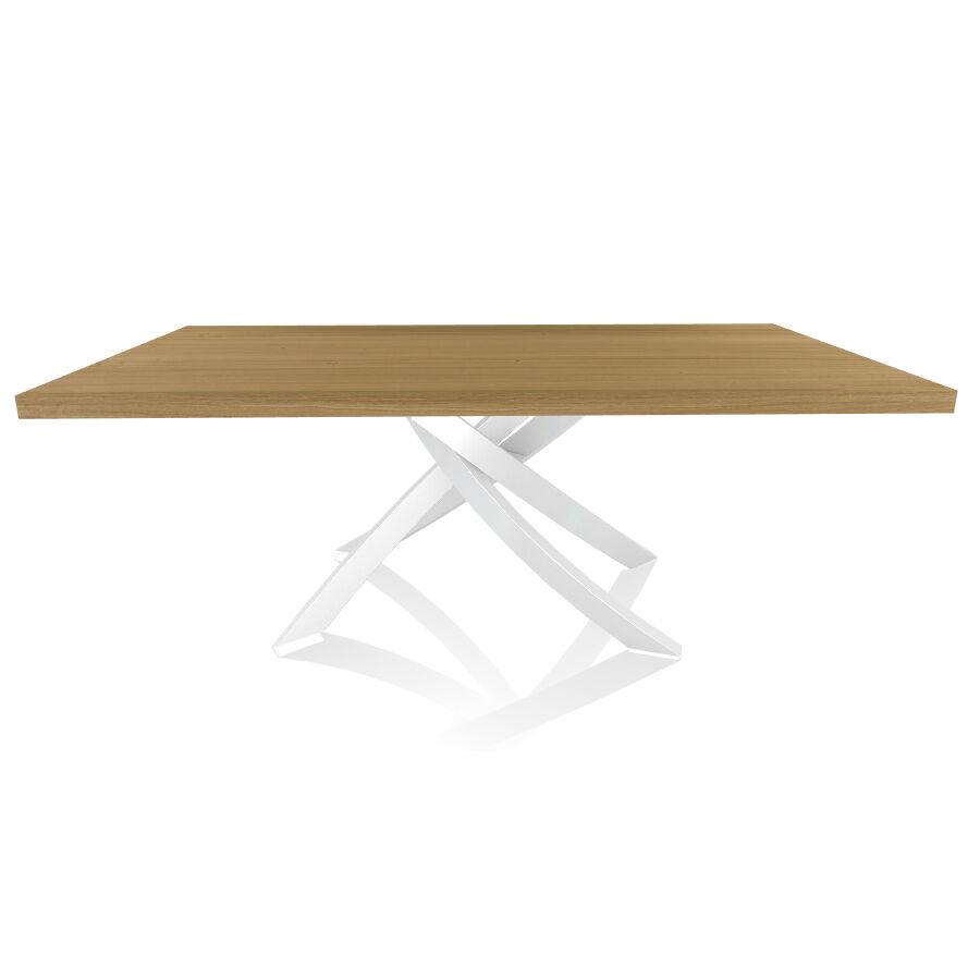 BONTEMPI CASA table avec structure blanche ARTISTICO 20.01 200x106 cm (Chêne naturel - Plateau en bois plaqué et structure en acier laqué blanc)