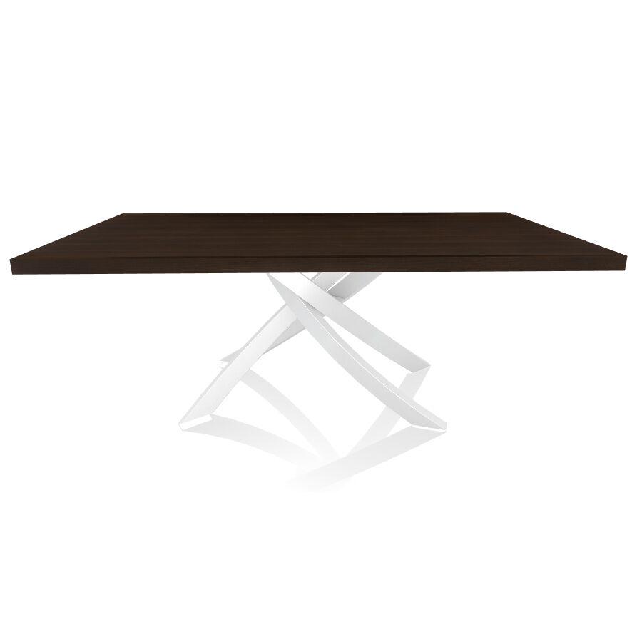 BONTEMPI CASA table avec structure blanche ARTISTICO 20.01 200x106 cm (Chêne Spessart - Plateau en bois plaqué et structure en acier laqué [...]